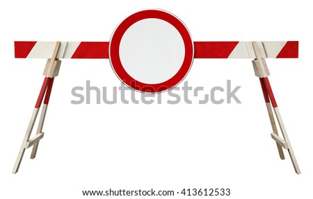 Traffic barrier striped obstacle with no traffic sign - stock photo