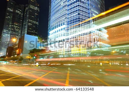 traffic by night - stock photo