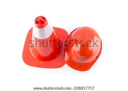traffic cone and worker Construction Helmet isolated on white background - stock photo