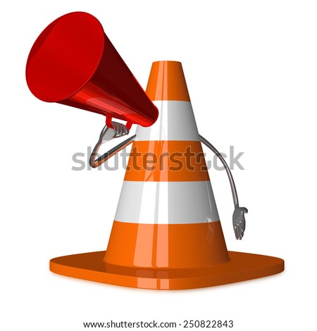 Traffic cone character with megaphone isolated on white - stock photo