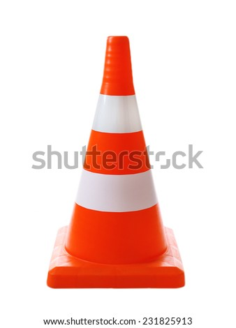 Traffic cone isolated on white - stock photo