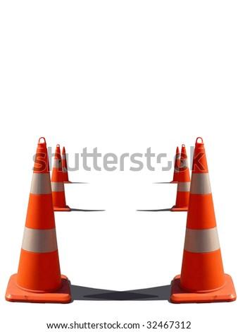 traffic cone isolated white backround - stock photo