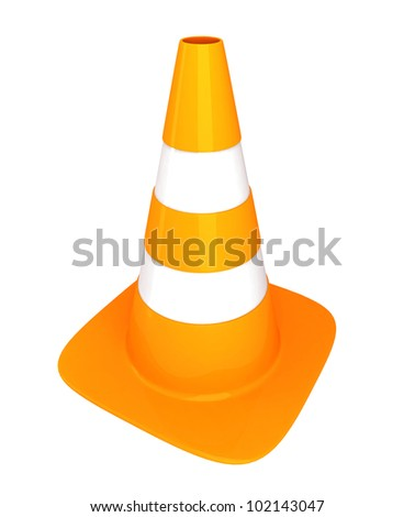 traffic cone on white background. - stock photo