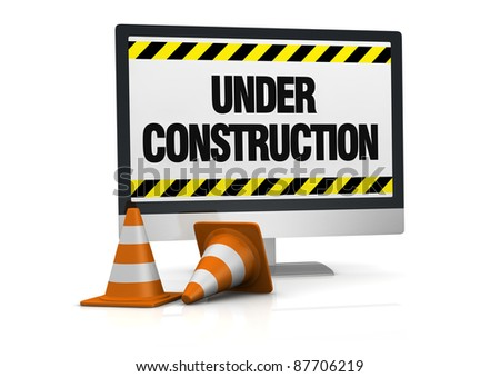 traffic cones and a computer with the words: under construction, on the display (3d render) - stock photo