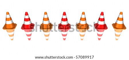 traffic cones arranged in line- do not enter: interdiction zone- with reflections on white background - stock photo