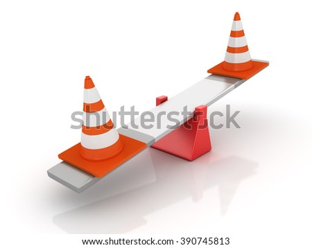 Traffic Cones Balancing on a Seesaw - Balance Concept - High Quality 3D Render   - stock photo