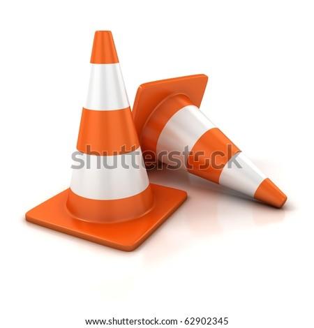 traffic cones 3d illustration - stock photo