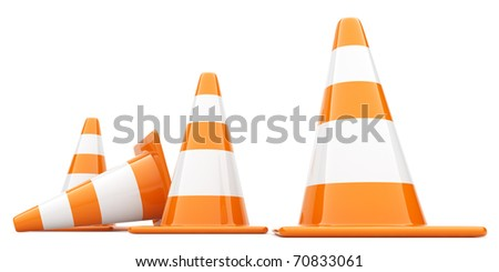 Traffic Cones. 3D illustration. Isolated, on white background - stock photo