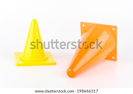 Traffic cones isolated white background - stock photo