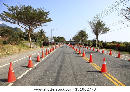 Traffic Cones on road - stock photo