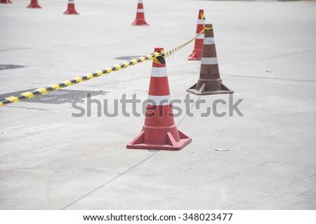 traffic cones ,two traffic cones , Placing traffic cones , With traffic cones - stock photo