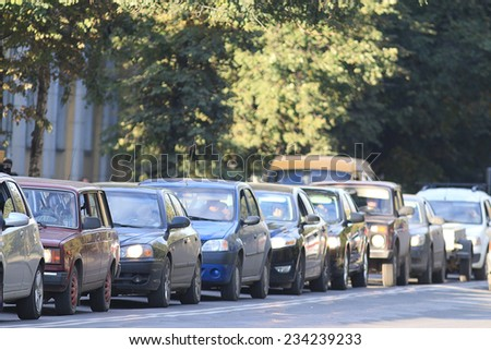 traffic congestion asia - stock photo