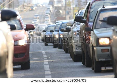 traffic congestion Russia - stock photo