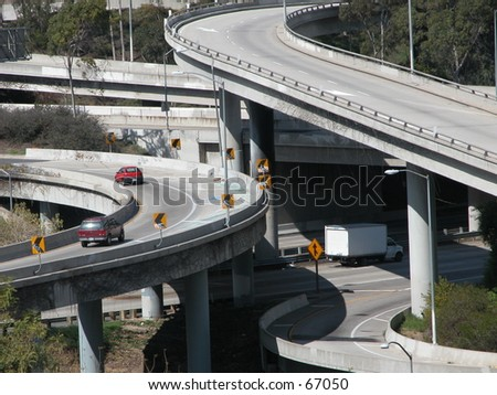 Traffic: crossing high ways - stock photo