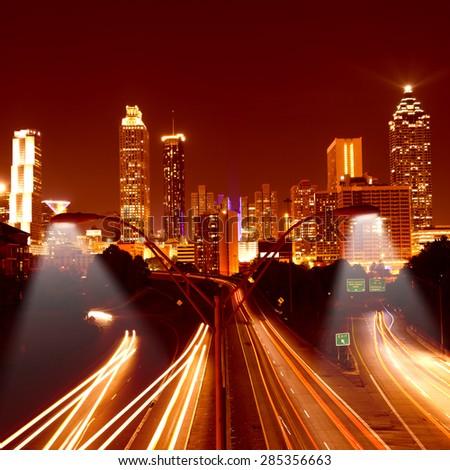 Traffic in Atlanta by night. Georgia, USA - stock photo