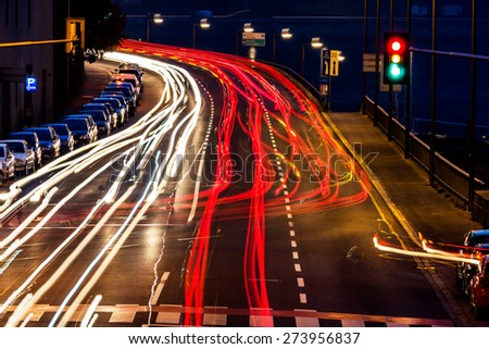 traffic in city at night, symbol of traffic, congestion, air pollution - stock photo