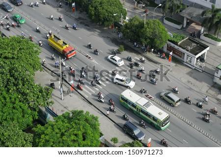 Traffic in Ho Chi Minh City - stock photo