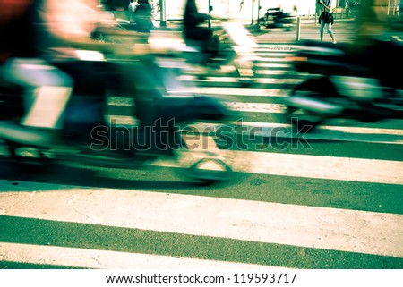 Traffic in the City, Blurred Motion - stock photo