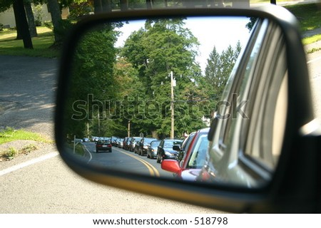 Traffic in the Mirror - stock photo