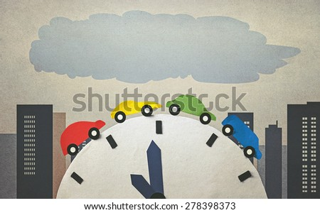 traffic jam and time (retro style) - stock photo
