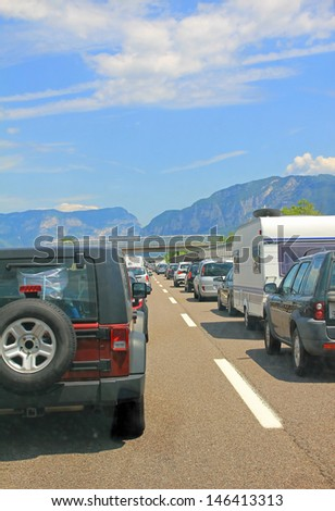 traffic jam at the main travel time in a southward direction, europe - stock photo
