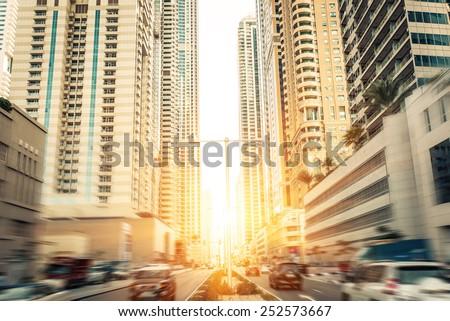 traffic jam in dubai with radial blur effect - stock photo