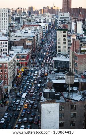 traffic jam on a street in Manhattan, New York - stock photo