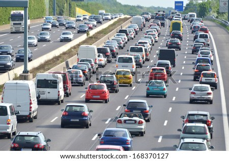 traffic jam on german highway. Current discussion about toll collect for foreign cars due to the claim of bavarias prime minister Horst Seehofer - stock photo