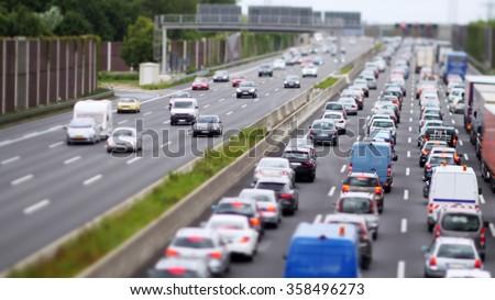 Traffic Jam on German highway, four lanes blocked - stock photo
