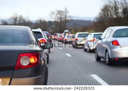 traffic jam on the highway - stock photo