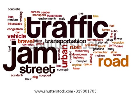 Traffic jam word cloud - stock photo