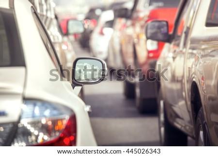 Traffic jams in the city - rush hour - stock photo