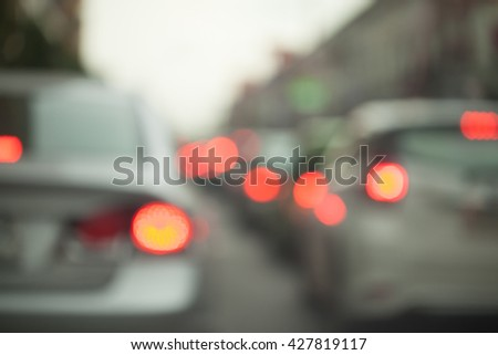 Traffic jams in the city - rush hour soft focus and over blurry - stock photo