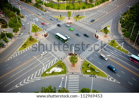 Traffic junctions, modern city - stock photo