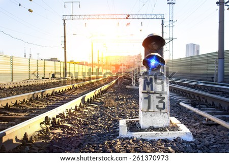 traffic light at the railway station - stock photo