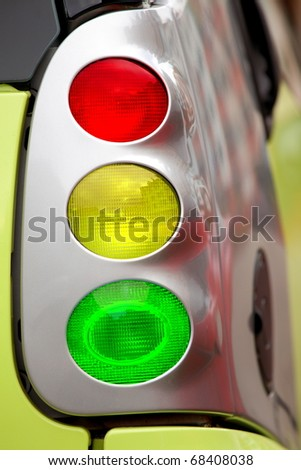 Traffic light collage with car light equipments, safety concept - stock photo