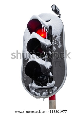 Traffic light in the snow. White background. Object. - stock photo