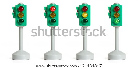 traffic light isolated on the white - stock photo