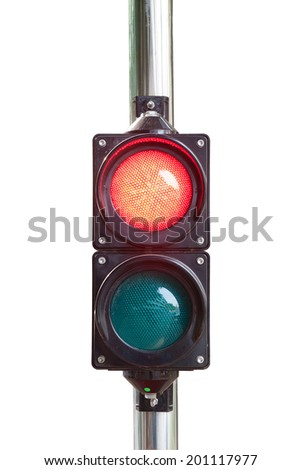 Traffic light isolated on white background (with clipping path) - stock photo
