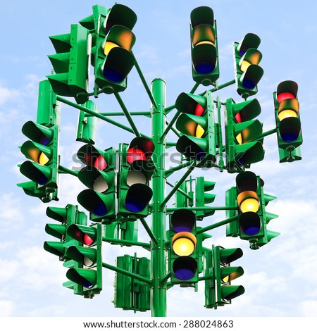 Traffic light - last traffic light in Eilat (Israel). Eilat is a city without traffic lights. Instead of them - the squares. And it is a photo of the last traffic light of a city. - stock photo