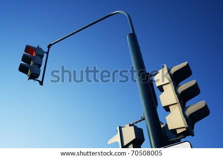 Traffic light on a background of the dark blue sky. A stoplight - stock photo