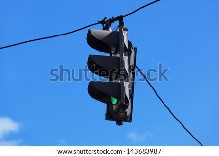 traffic light on blue sky background - stock photo