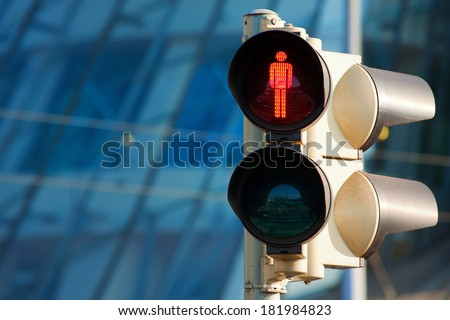 Traffic light on red - stock photo