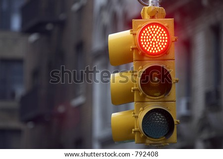 Traffic light on red, Manhattan, New York, America, USA - stock photo