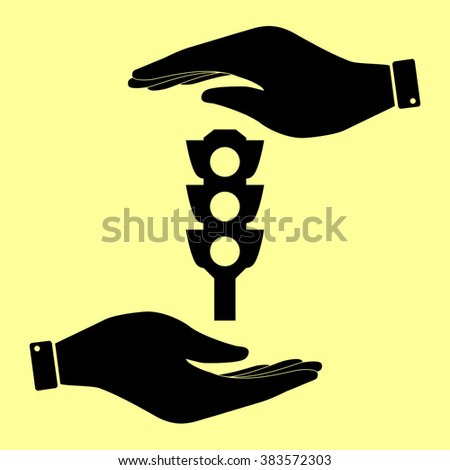 Traffic light sign. Save or protect symbol by hands. - stock photo