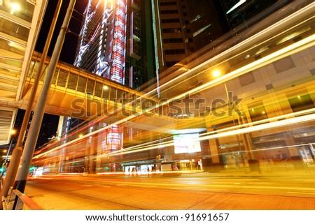 traffic light through city - stock photo