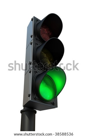 Traffic light with green light - 3d render, isolated on white - stock photo