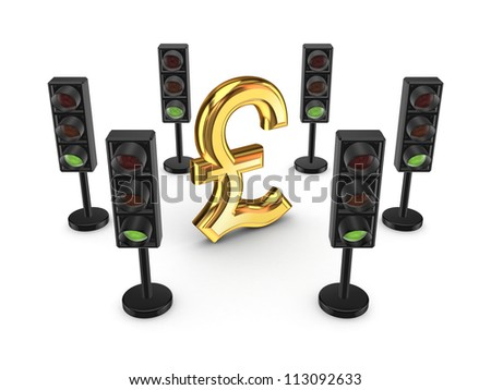Traffic lights around pound sterling sign.Isolated on white background.3d rendered. - stock photo
