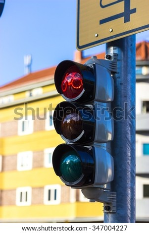 Traffic lights for cyclists - stock photo