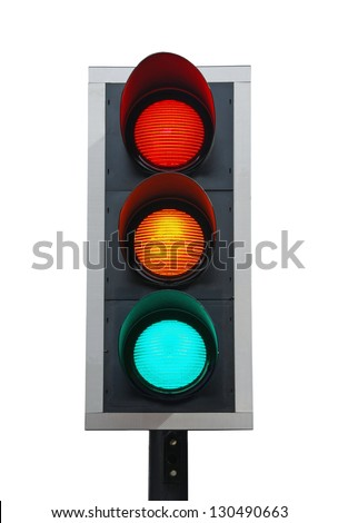 traffic lights isolated on white background (all lights on) - stock photo